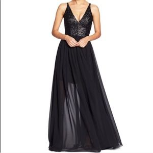 Dress the population black sequin prom maxi dress